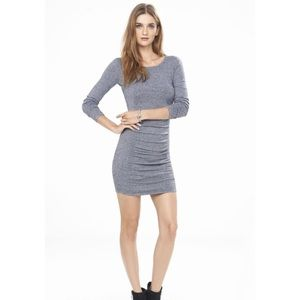 Express Marled Ruched Crew Neck Sweater Dress Sz M